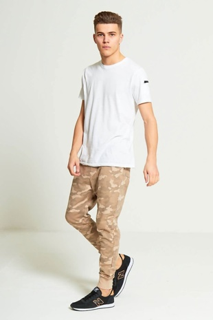 Mens Beige Camouflage Print Jogging Bottoms