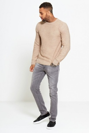Mens Beige Crew Neck Jumper