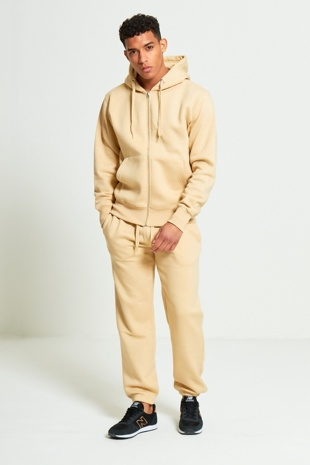 Mens Beige Fleece Jogging Pockets Plain Tracksuit