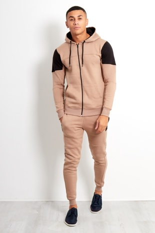 Mens Beige Shoulder Spliced Panel Tracksuit