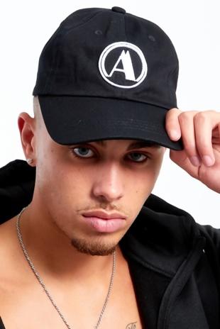 Mens Black Aarhon Baseball Cap