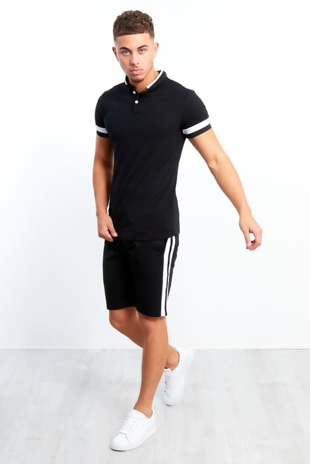 Mens Black And White Panel Detailed T-shirt And Shorts Set