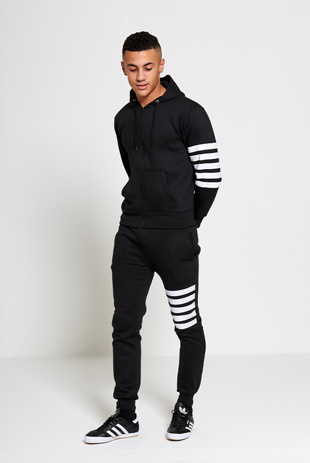 Mens Black Asymmetrical Striped Hooded Tracksuit