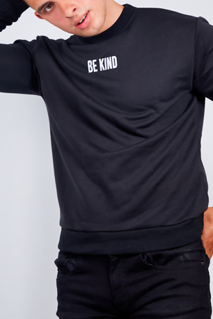 Mens Black Be Kind Slogan Jumper