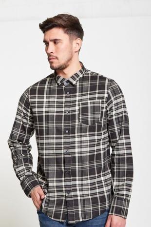 Mens Black Brushed Check Button Up Shirt