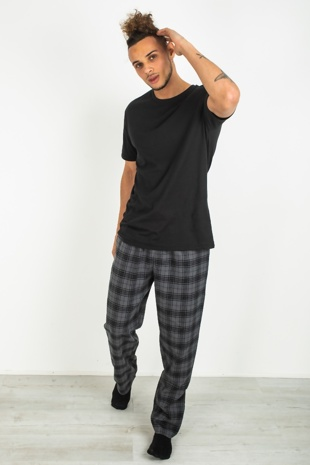 Mens Black Checked Pyjama Set
