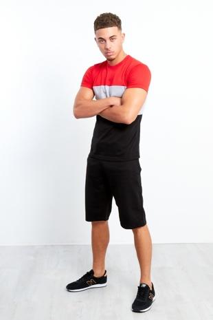 Mens Black Colour Block T-shirt Shorts Set