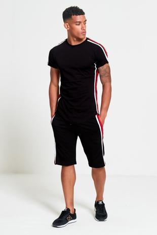 Mens Black Contrast Side Stripe Shorts Set