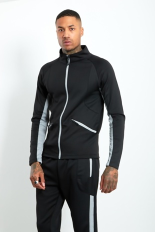 Mens Black Contrast Zip Tracksuit With Panel Detail