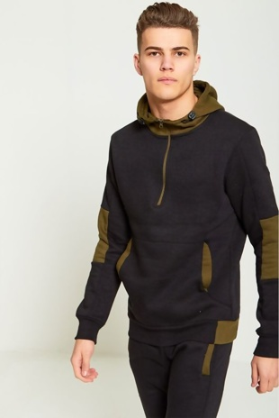 Mens Black Contrasting Colour Block Hooded Tracksuit