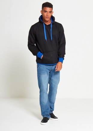 Mens Black Contrasting Pull Over Hoodie