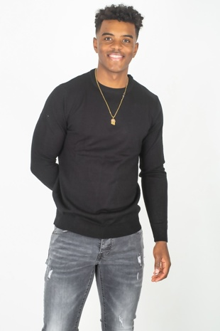 Mens Black Crew Neck Long Sleeve Jumper
