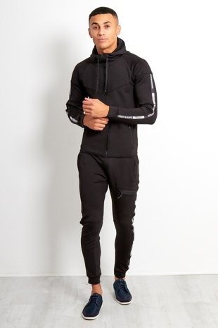 Mens Black Logo Stripe Detailed Skinny Fit Tracksuit