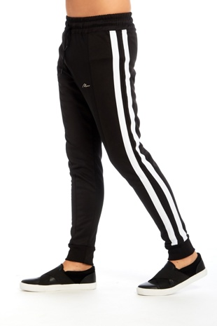 Mens Black Double Stripe Jogging Bottom