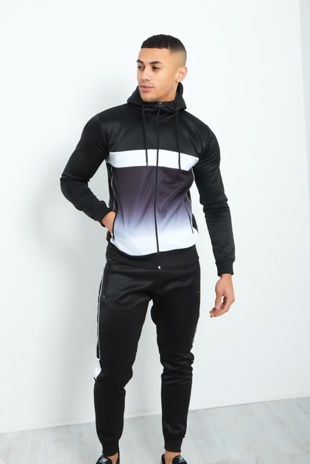 Mens Black Double Tone Spliced Zip Through Tracksuit