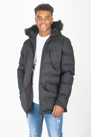 Mens Black Faux Fur Hood Trim Padded Parka