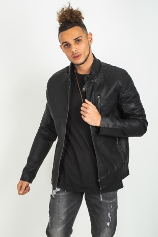 Mens Black Faux Leather Biker Jacket