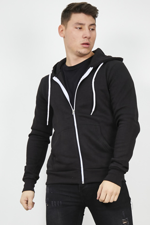 Mens Black Fleece Zip Up Hoody