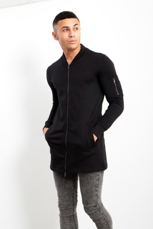 Mens Black Full Zip Long Jacket