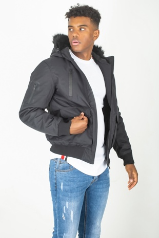 Mens Black Fur Hood Parka Jacket