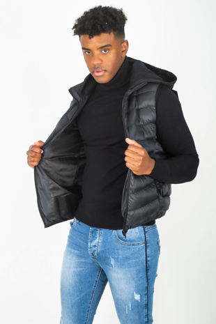 Mens Black Hood Detail Quilted Padded Gilet
