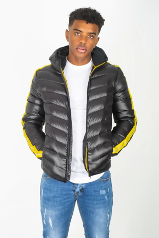 Mens Black Hooded Yellow Reflector Stripe Puffer Jacket