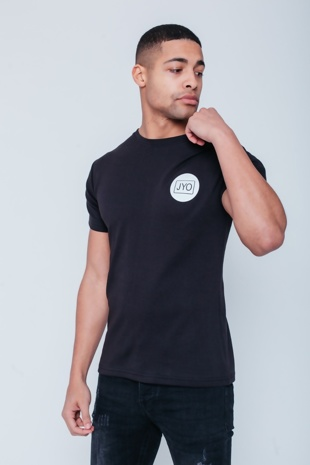Mens Black JYO Logo Printed T-Shirt