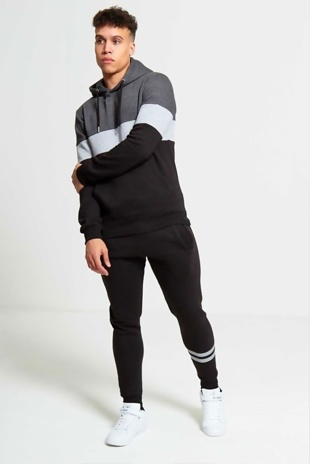 Mens Black Loungewear Tracksuit With Contrasting Panel Detailing