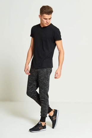 Mens Black Marl Jogging Bottoms