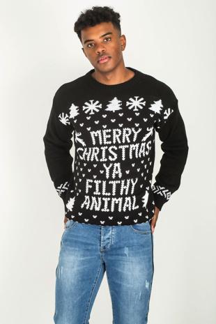 Mens Black Merry Christmas Slogan Knitted Jumper