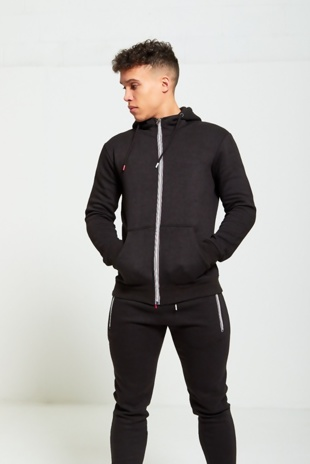Mens Black Multicolored Zip Basic Skinny Fit Tracksuit