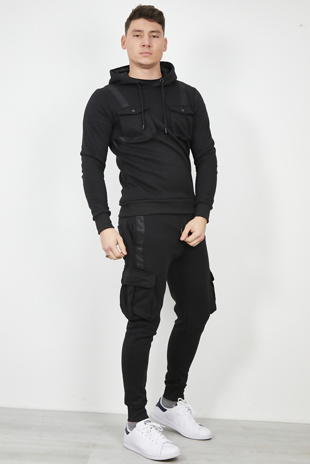 Mens Black Pocket Detail Hooded Skinny Fit Tracksuit
