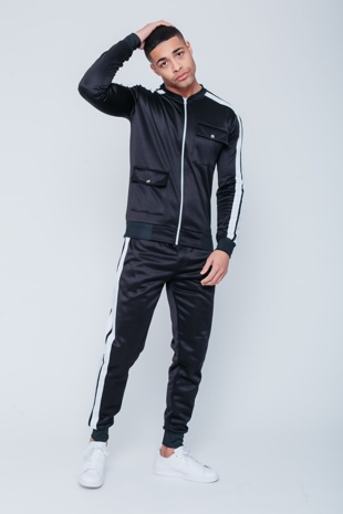 Mens Black Pocket Detail Zip Through Skinny Tracksuit