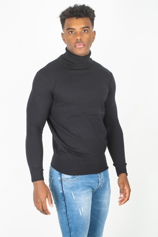 Mens Black Polo Neck Fine Knit Jumper