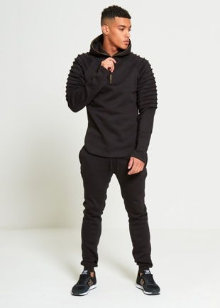 Mens Black Ribbed Detailing Zip Up Tracksuit