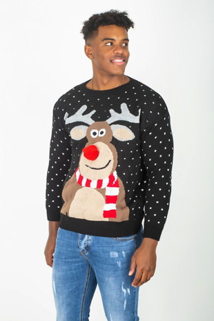 Mens Black Rudolph Pom Nose Christmas Jumper