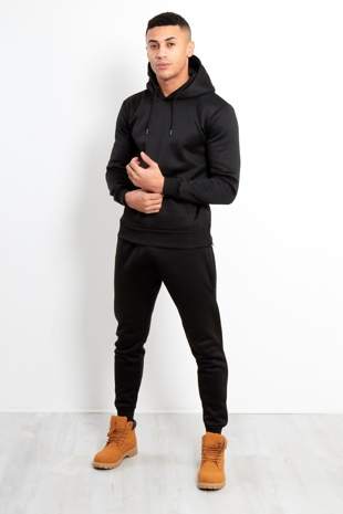 Mens Black Side Zip Detail Hooded Tracksuit