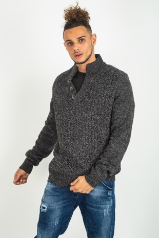 Mens Black Texture Knit Button Detail Pullover Jumper
