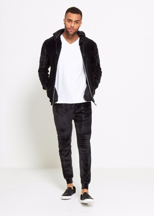 Mens Black Velvet Biker Ribbed Padding Skinny Fit Tracksuit