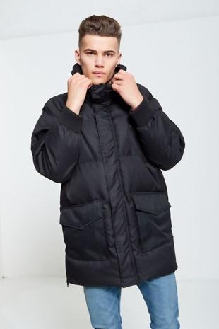 Mens Black Windbreaker Quilted jacket