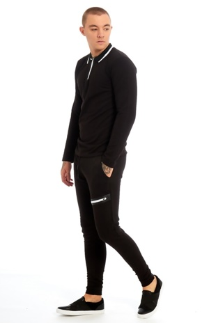 Mens Black Zip Detailed Skinny Fit Polo Tracksuit