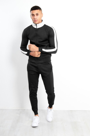 Mens Black Zip Through Contrast Collar Tracksuit