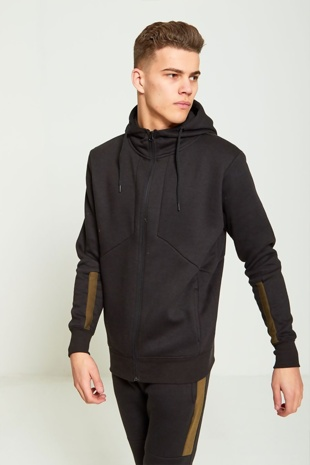 Mens Black Zip Through Contrasting Panel Hooded Tracksuit