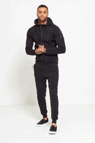 Mens Black Zip Through Hooded Tracksuit
