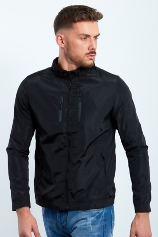 Mens Black Zip Through Light Weight Jacket