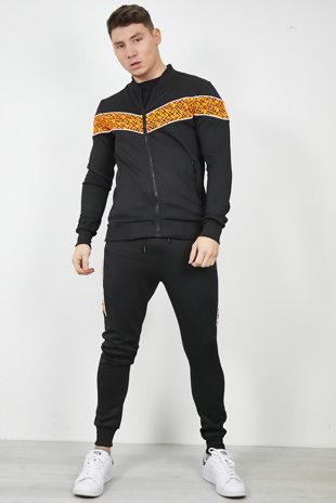 Mens Black Zip Through Neon Orange Panel Tracksuit