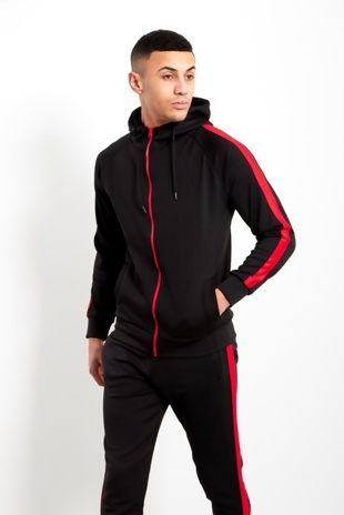 Mens Black Zip Through Tracksuit