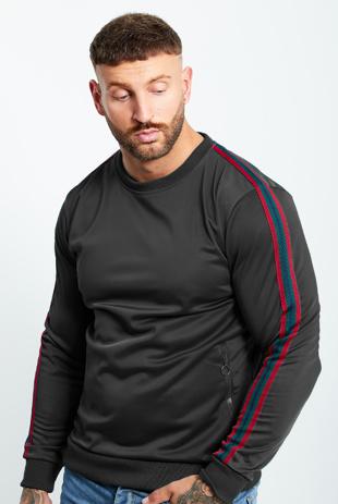 Mens Black Zipped Pocket Front Striped Sleeve Jumper