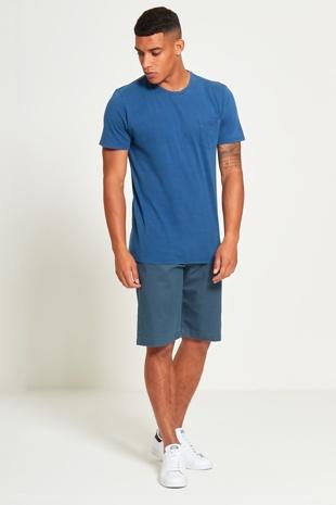 Mens Blue Basic Denim Pocket T-Shirt