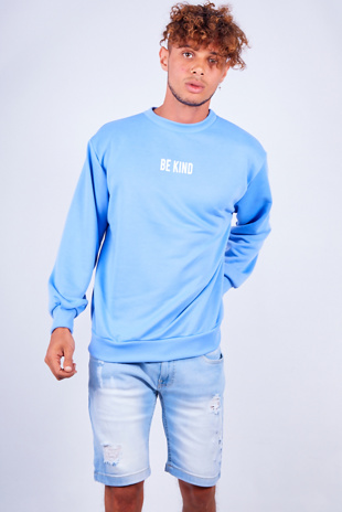 Mens Blue Be Kind Slogan Jumper